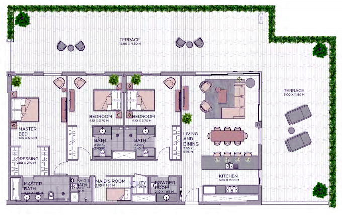 Planning of the apartment 3BR, 3455.35 in Central Park at City Walk, Dubai