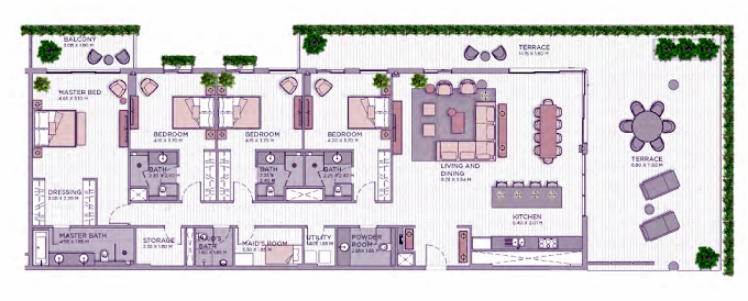 Planning of the apartment 4BR, 3895.38 in Central Park at City Walk, Dubai