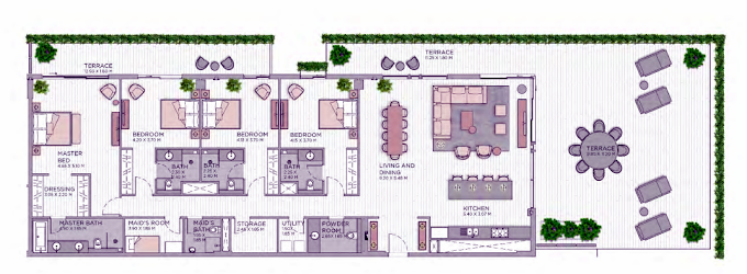 Planning of the apartment 4BR, 4308.51 in Central Park at City Walk, Dubai