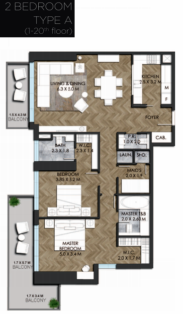 Planning of the apartment 2BR, 1528.37 in IGO 101, Dubai