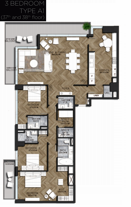 Planning of the apartment 3BR, 2475.59 in IGO 101, Dubai