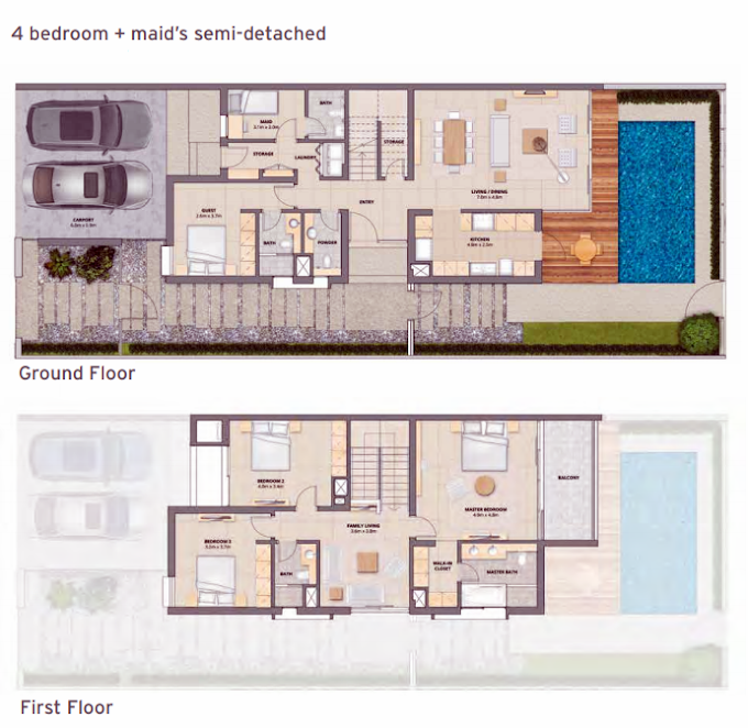 Planning of the apartment Townhouses, 2603 in Arabella Townhouses, Dubai