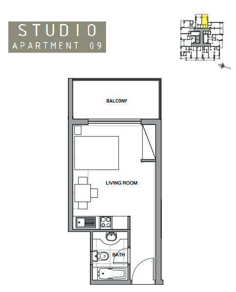 Planning of the apartment Studios, 376 in Amina Residence 2, Dubai