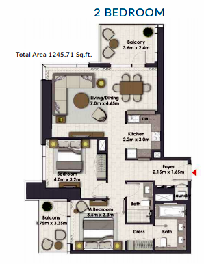 Planning of the apartment 2BR, 1245.71 in Creek Rise Towers, Dubai