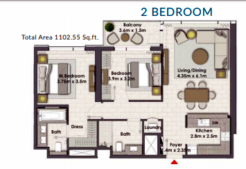 Planning of the apartment 2BR, 1102.55 in Creek Rise Towers, Dubai