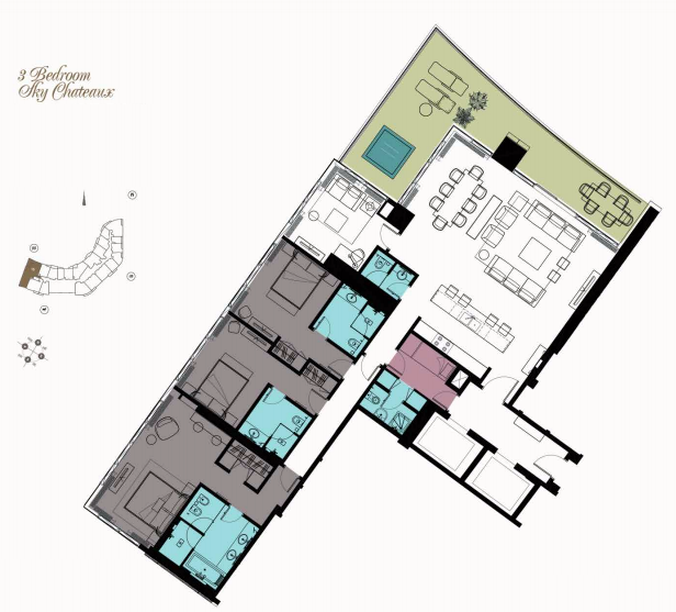 Planning of the apartment 3BR, 3144 in Kempinski Residences Business Bay, Dubai