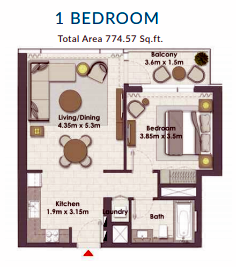 Planning of the apartment 1BR, 774.57 in Creek Rise Towers, Dubai