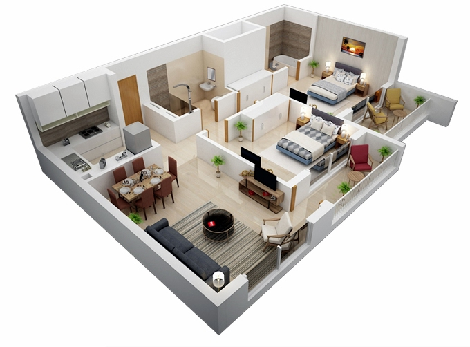 Planning of the apartment 2BR, 81.46 in Genesis Apartments, Dubai
