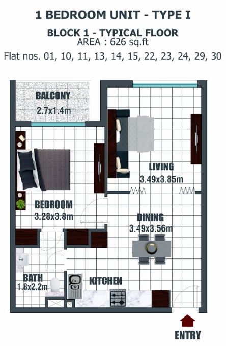 Planning of the apartment 1BR, 626 in Lawnz, Dubai