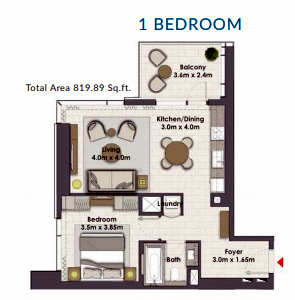 Planning of the apartment 1BR, 819.89 in Creek Rise Towers, Dubai