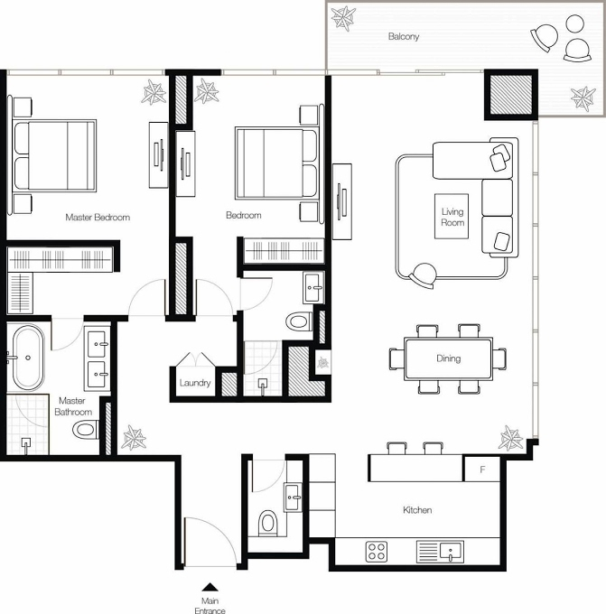 Planning of the apartment 2BR, 1471 in Banyan Tree Residences, Dubai