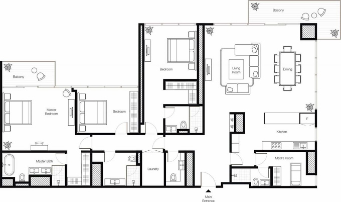 Planning of the apartment 3BR, 2341 in Banyan Tree Residences, Dubai