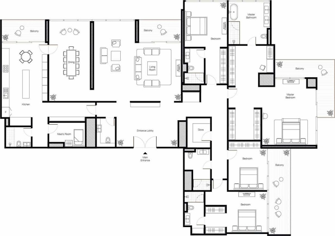 Planning of the apartment Penthouses, 4072 in Banyan Tree Residences, Dubai