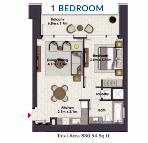 Planning of the apartment 1BR, 830.54 in Creek Rise Towers, Dubai