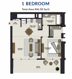 Planning of the apartment 1BR, 846.58 in Harbour Gate, Dubai