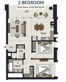 Planning of the apartment 2BR, 1141.08 in Harbour Gate, Dubai