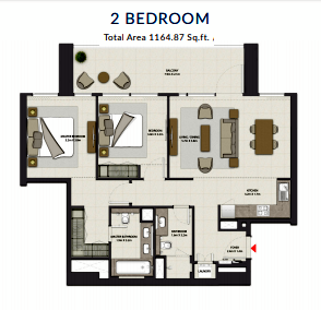 Planning of the apartment 2BR, 1164.87 in Harbour Gate, Dubai