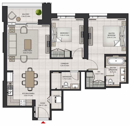 Planning of the apartment 2BR, 1074.67 in Creek Edge, Dubai