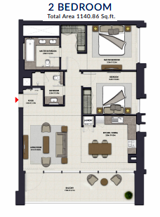 Planning of the apartment 2BR, 1140.86 in Harbour Gate, Dubai