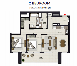 Planning of the apartment 2BR, 1212.02 in Harbour Gate, Dubai