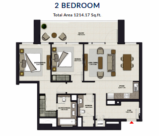 Planning of the apartment 2BR, 1214.17 in Harbour Gate, Dubai