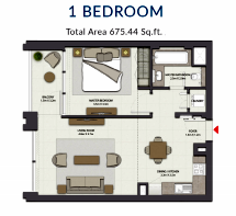 Planning of the apartment 1BR, 675.44 in Harbour Gate, Dubai