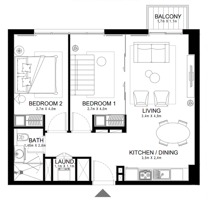 Planning of the apartment 2BR, 734.53 in Golfville, Dubai