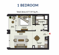 Planning of the apartment 1BR, 677.59 in Harbour Gate, Dubai