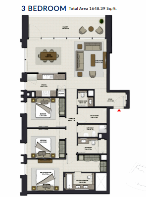 Planning of the apartment 3BR, 1648.39 in Harbour Gate, Dubai