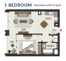 Planning of the apartment 1BR, 678.13 in Harbour Gate, Dubai