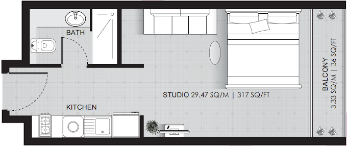 Planning of the apartment Studios, 353 in Se7en Residences The Palm, Dubai