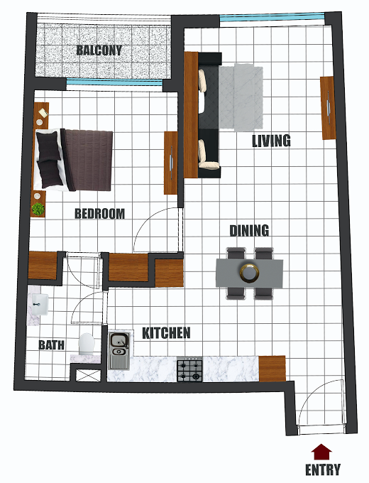 Planning of the apartment 1BR, 666.4 in Wavez Residence, Dubai