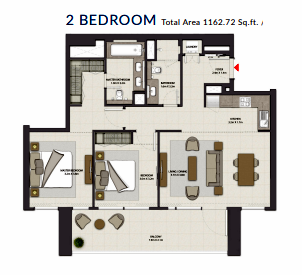 Planning of the apartment 2BR, 1162.72 in Harbour Gate, Dubai
