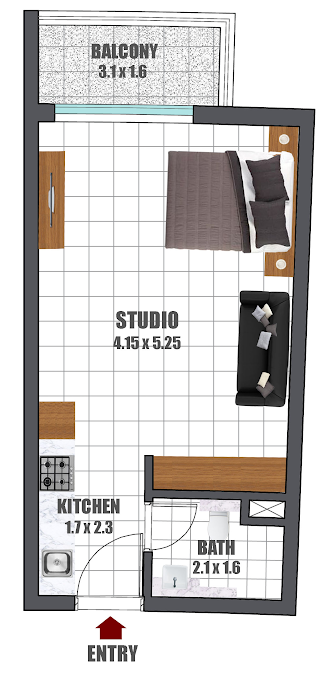 Planning of the apartment Studios, 400.2 in Wavez Residence, Dubai