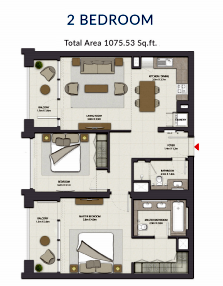 Planning of the apartment 2BR, 1075.53 in Harbour Gate, Dubai