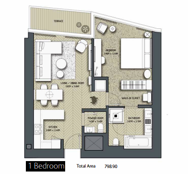 Planning of the apartment 1BR, 798.9 in The Address Residences Dubai Opera, Dubai