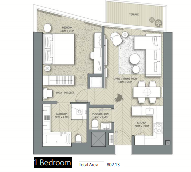 Planning of the apartment 1BR, 802.13 in The Address Residences Dubai Opera, Dubai