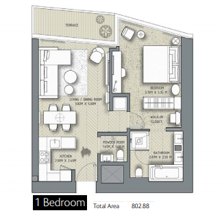 Planning of the apartment 1BR, 802.88 in The Address Residences Dubai Opera, Dubai