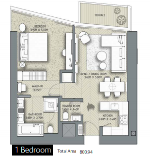 Planning of the apartment 1BR, 800.94 in The Address Residences Dubai Opera, Dubai
