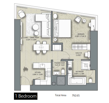 Planning of the apartment 1BR, 792.65 in The Address Residences Dubai Opera, Dubai