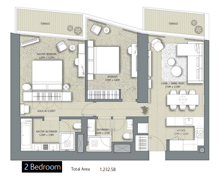 Planning of the apartment 2BR, 1232.58 in The Address Residences Dubai Opera, Dubai