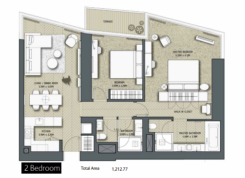 Planning of the apartment 2BR, 1212.77 in The Address Residences Dubai Opera, Dubai