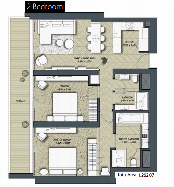 Planning of the apartment 2BR, 1262.07 in The Address Residences Dubai Opera, Dubai