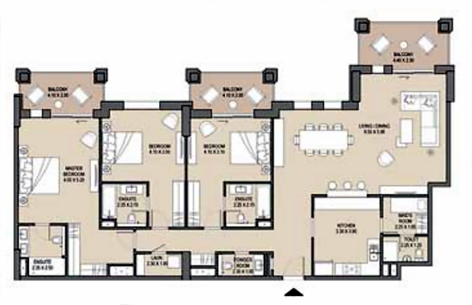 Planning of the apartment 3BR, 2198 in Lamtara, Dubai