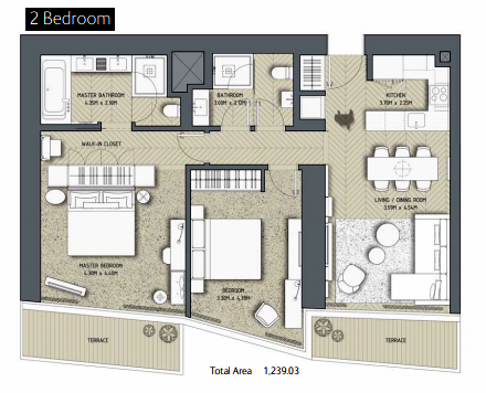 Planning of the apartment 2BR, 1239.03 in The Address Residences Dubai Opera, Dubai