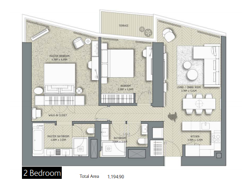 Planning of the apartment 2BR, 1194.9 in The Address Residences Dubai Opera, Dubai