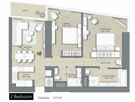 Planning of the apartment 2BR, 1211.91 in The Address Residences Dubai Opera, Dubai