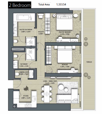 Planning of the apartment 2BR, 1333.54 in The Address Residences Dubai Opera, Dubai