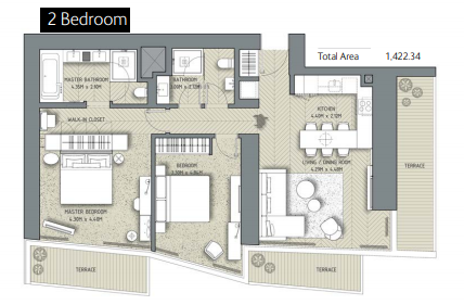 Planning of the apartment 2BR, 1422.34 in The Address Residences Dubai Opera, Dubai