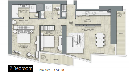 Planning of the apartment 2BR, 1593.7 in The Address Residences Dubai Opera, Dubai